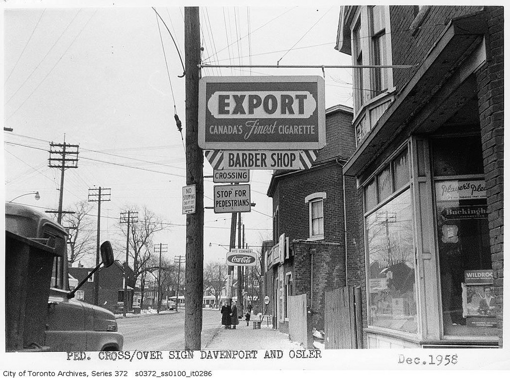 Pedestrian crossing sign at Davenport Road and Osler Street | © Toronto History/Flickr