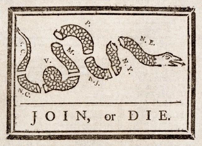 Benjamin Franklin, Join or Die, The Pennsylvania Gazette, 1754 | © Adam Cuerden/WikiCommons
