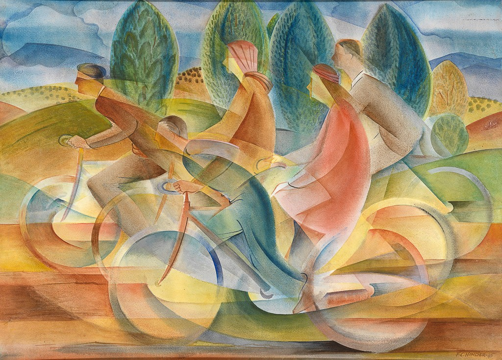 mage courtesy of NGV, Frank Hinder Australia 1906–92, lived in United States 1927–34 Cyclists, Canberra 1945 watercolour and tempera on paper on card 51.4 x 70.8 cm Purchased, 1947 (1797-4) © Enid Hawkins, daughter of the artist