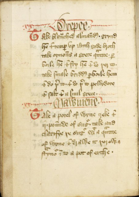 The Forme of Cury is a cookbook written in Middle English being dated to the late 14th century   WikiCommons