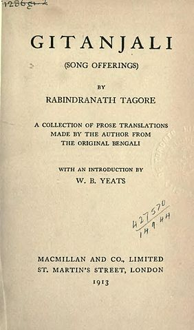 Title page for Gitanjali, by Tagore | Macmillan and Company, London | WikiCommons