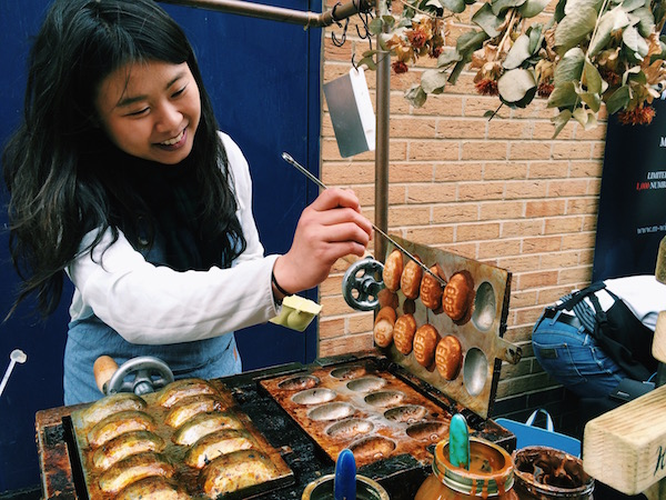 Dhan Waffle owner Irene serving up Taiwanese dhan at Maltby Street Market | Courtesy of A. Winners