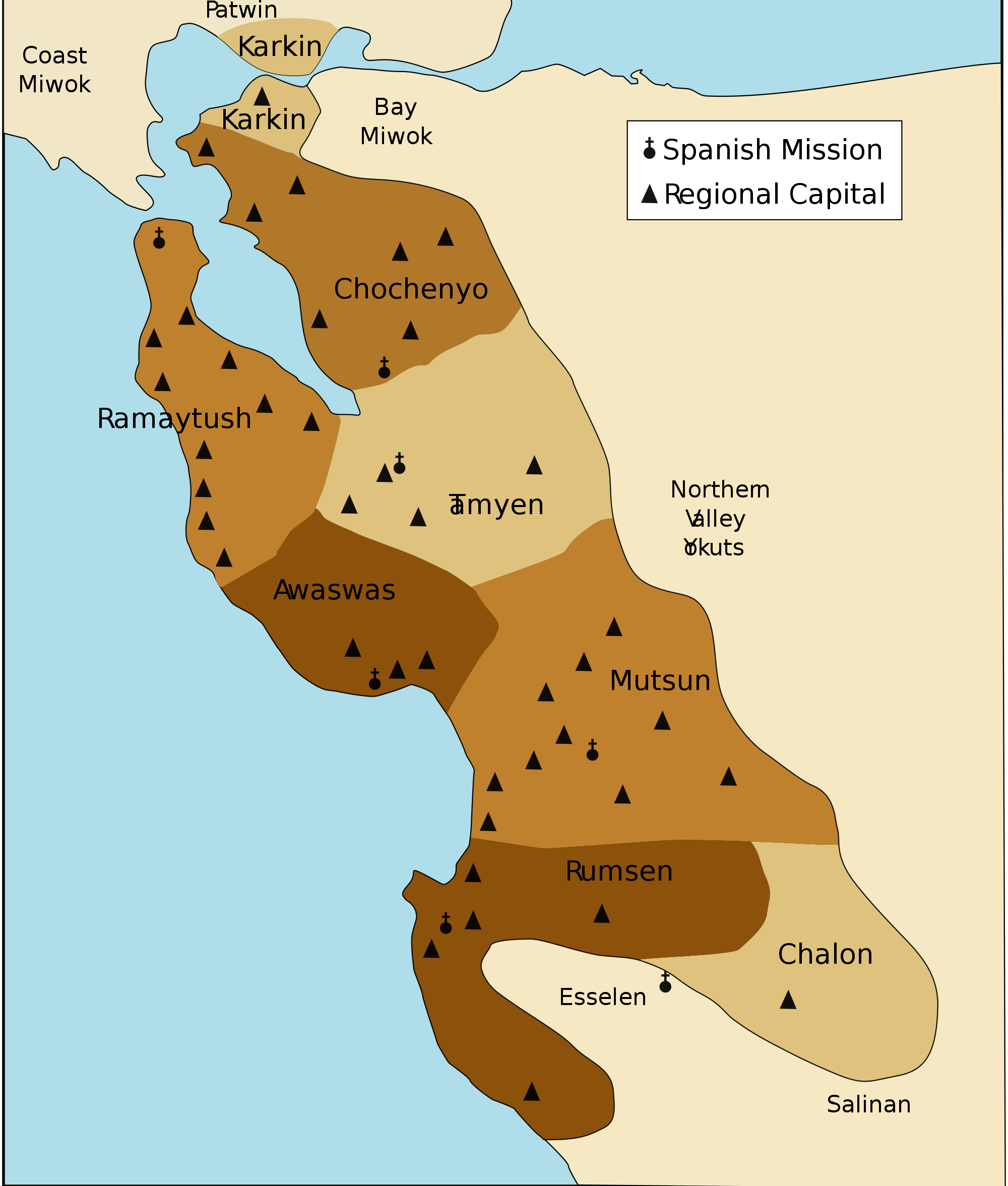 A map of the Ohlone language map @ Arnaudh/Wikipedia