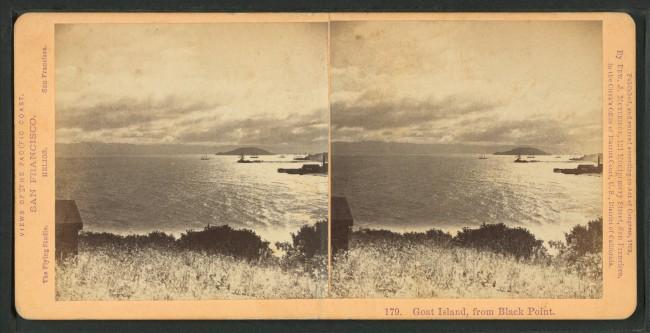 Goat Island, photographed from Black Point © Eadweard Muybridge/Wikipedia