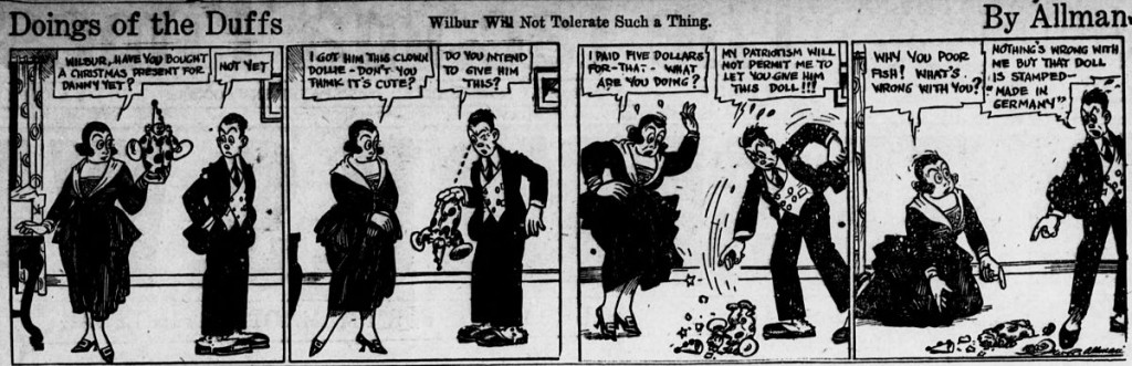 A 1917 comic strip in which the character smashes a clown doll present because it was made in Germany @ Tacoma Times/Wikipedia