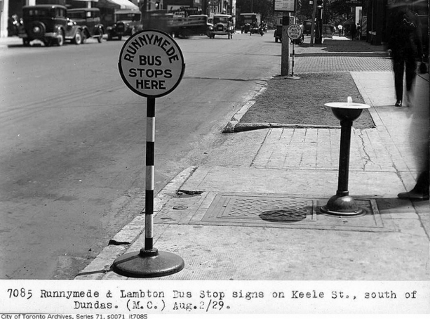 Runnymede and Lambton bus stop signs, on Keele Street, south of Dundas Street | © Toronto History/Flickr