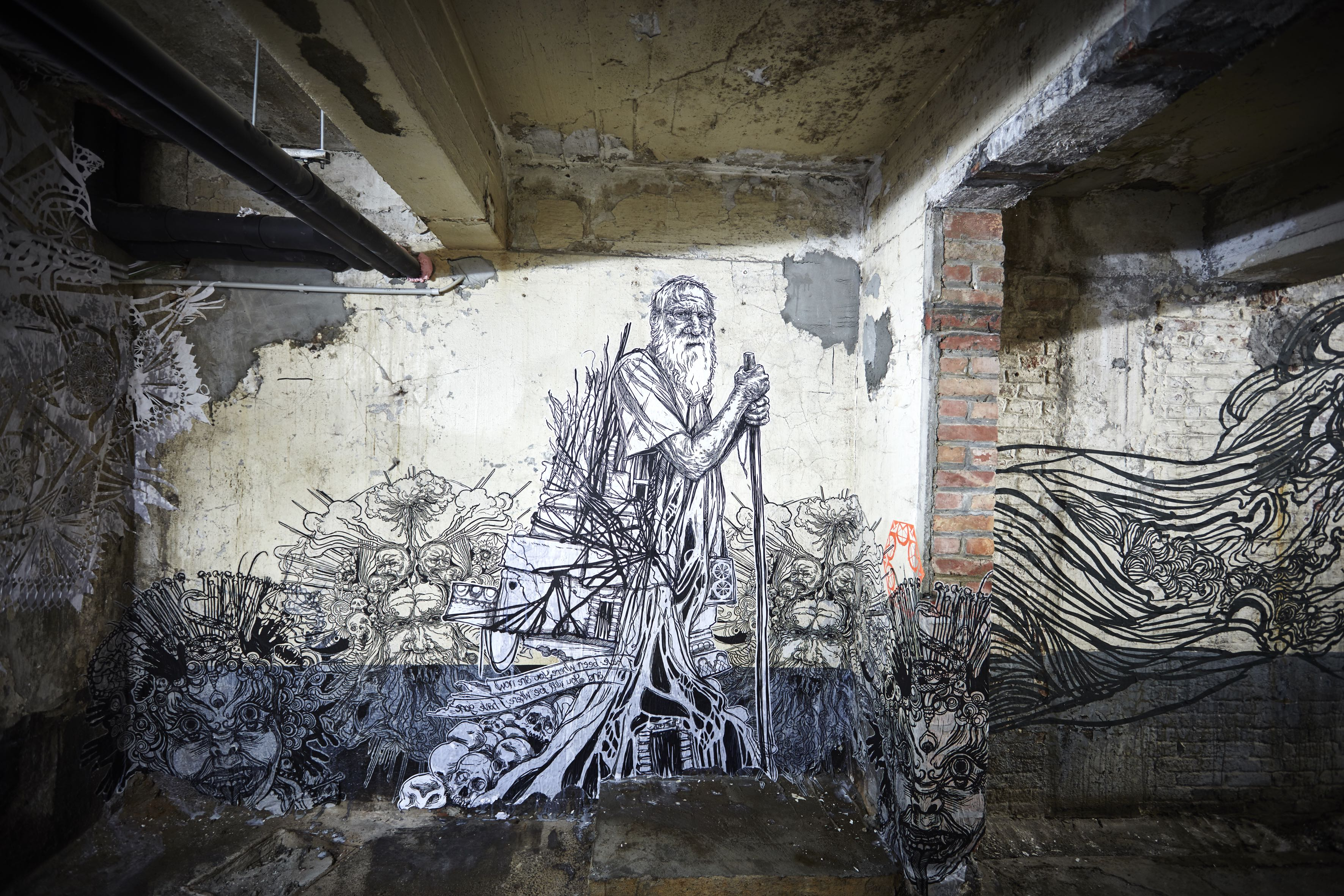 The work of US artist Swoon in MIMA's basement | © The Pickles, Courtesy of the MIMA Museum