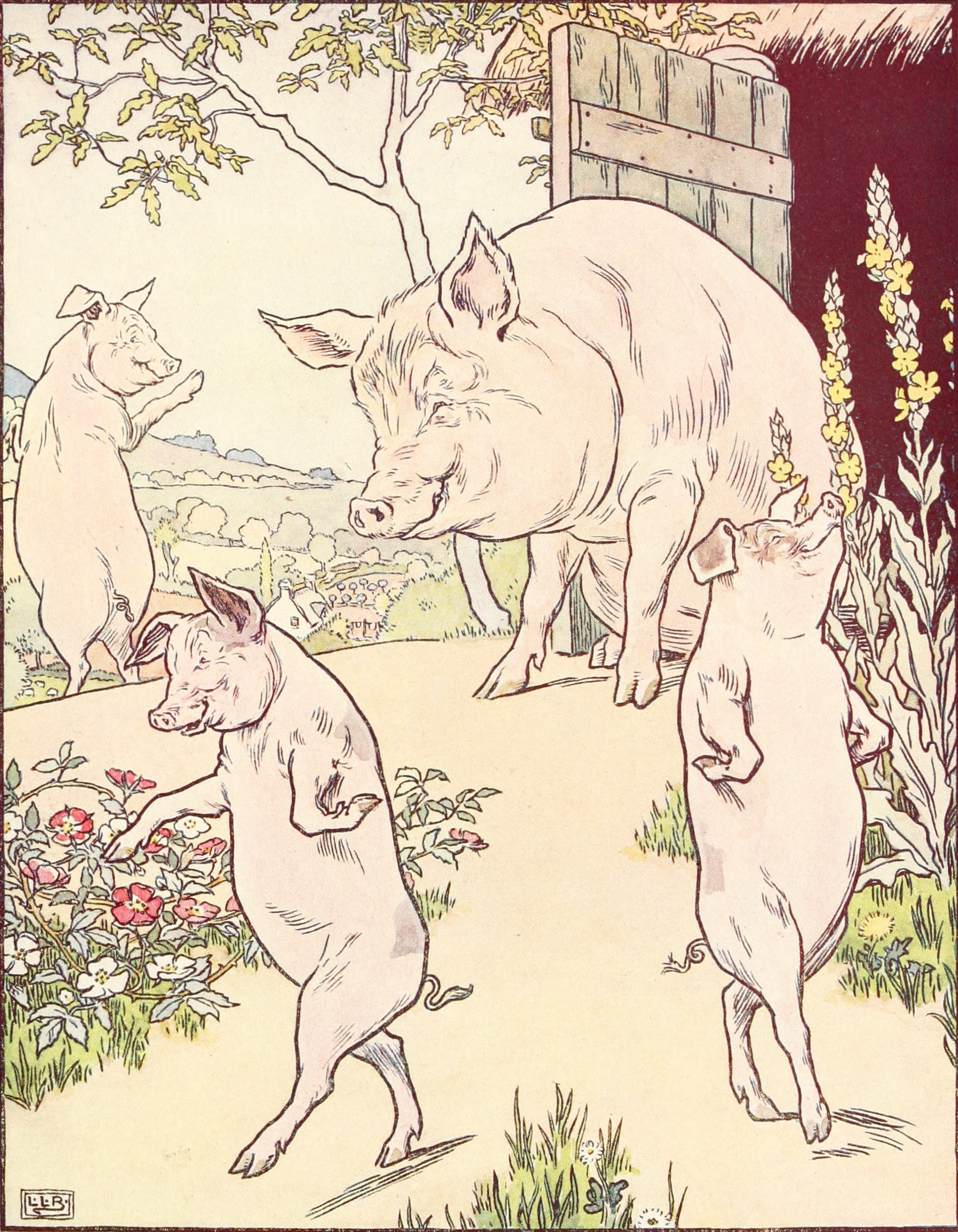 Three little pigs and mother| © L. Leslie Brooke / WikiCommons