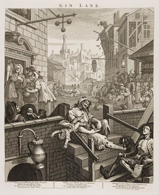 Hogarth, Gin Lane, 374 x 318 mm, British Museum, 1751 | © Yomangani/WikiCommons