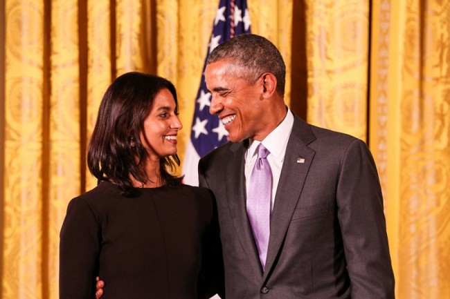 Jhumpa Lahiri awarded the National Humanities Medal by President Obama in 2014