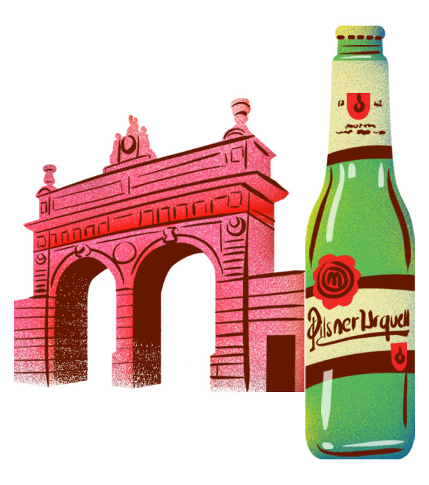 Pilsner, with the iconic gate to the brewery   © Eating Prague Tours