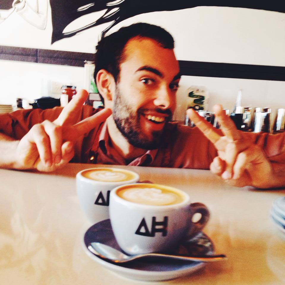 Callum's excited about these coffees he poured! / Courtesy of Architects and Heroes