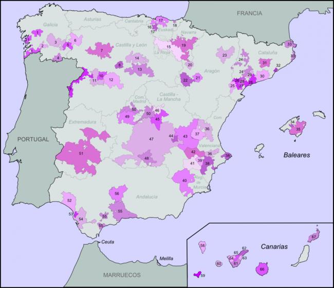 The D.O. regions of Spain in purple | © Tyk / WikiCommons
