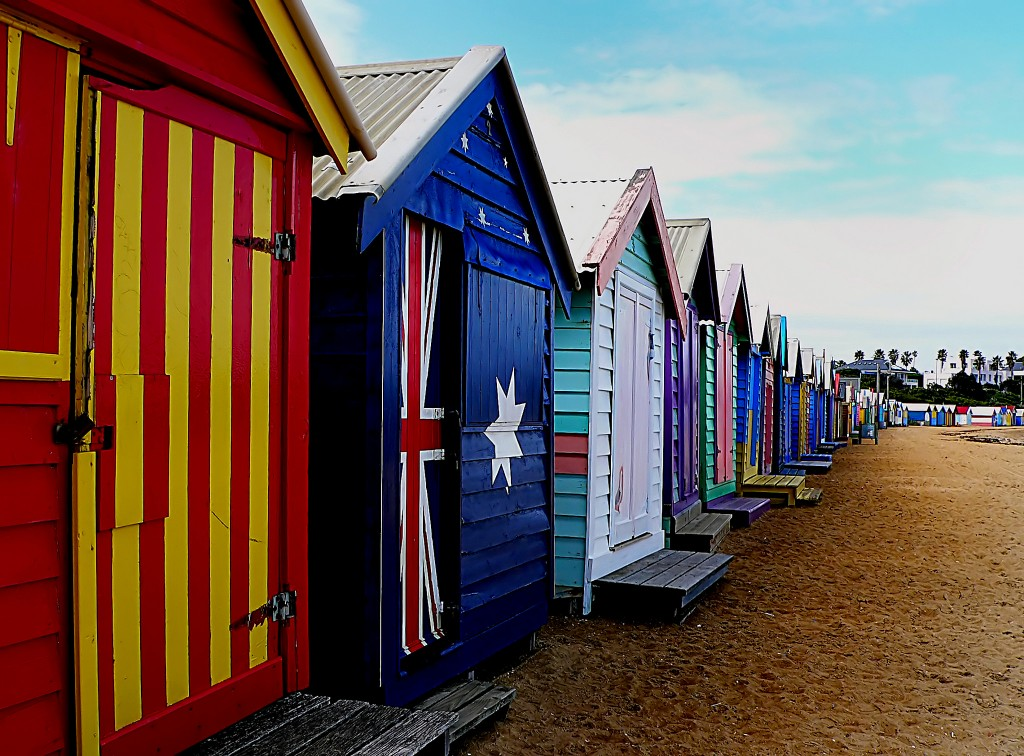 Bathing Boxes, ©Bernard Spragg. NZ, Flickr