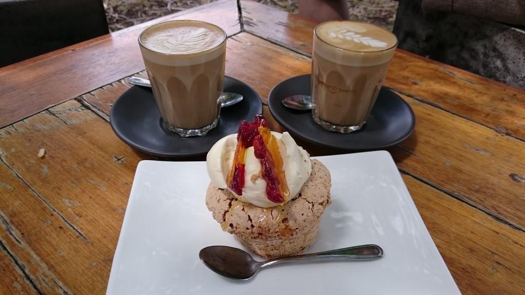 Hazelnut meringue cake and café lattes at Brighton Schoolhouse Café, ©Alpha, Flickr
