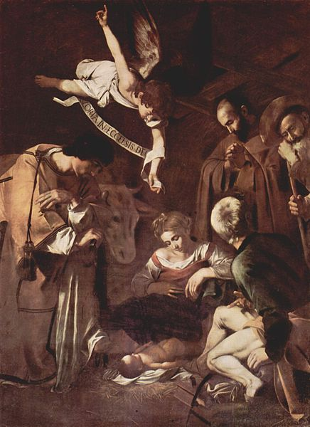 Caravaggio, Nativity with St. Francis and St. Lawrence, c1600 | (c) WikiCommons