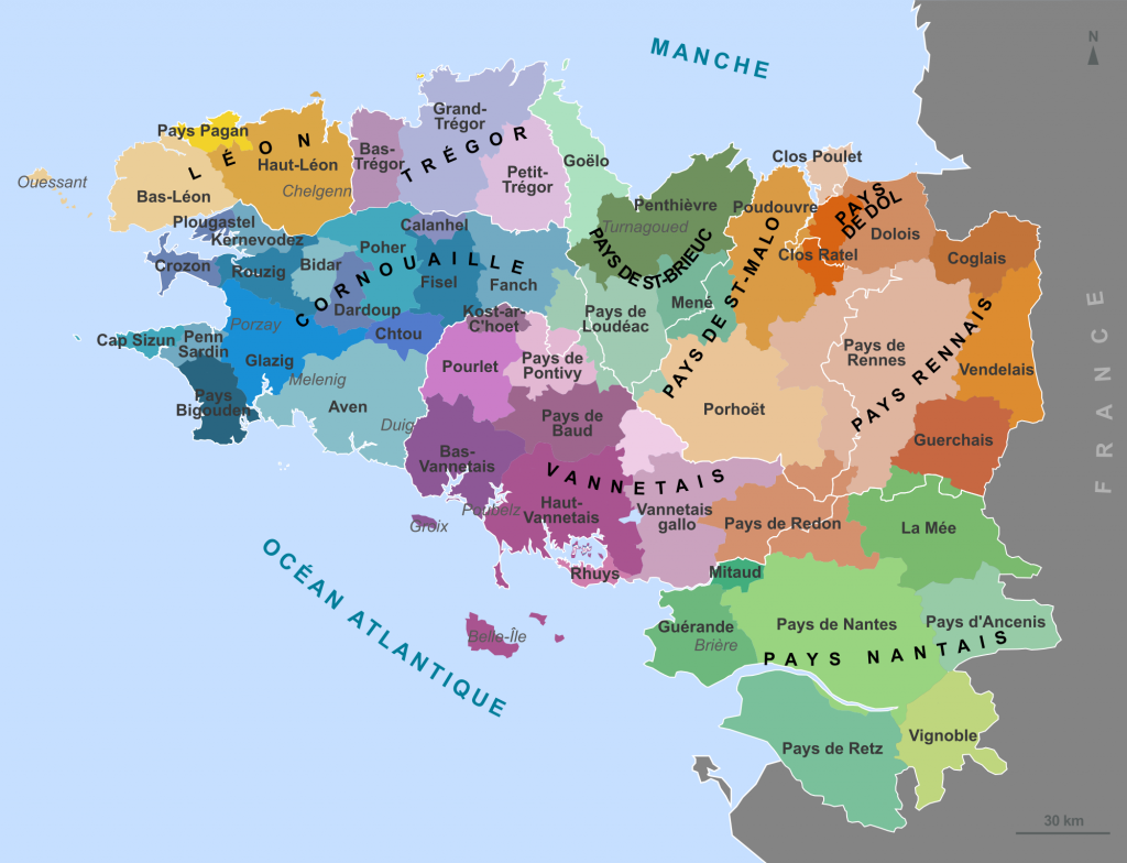 A French map of the traditional regions of Brittany in Ancien Régime France - © Mikael Bodlore-Penlaez/Wikicommons