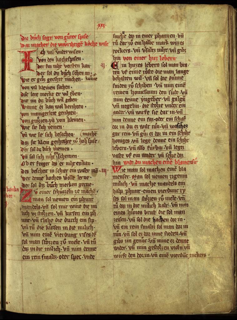 First page of Das buch von guter spise, c. 1350 | © Universitätsbibliothek München/WikiCommons
