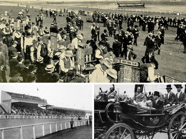 Bookies at the Woodbine, Toronto   Public Domain/Wikicommons   Woodbine Race Course, 1909  ©Internet Archive Book Images/Flickr   George VI, visit to Toronto, 22 May 1939, at the King's Plate, Woodbine (now Greenwood) Race Track, Queen St. E.   © Special Collections Toronto Public Library Follow/Flickr