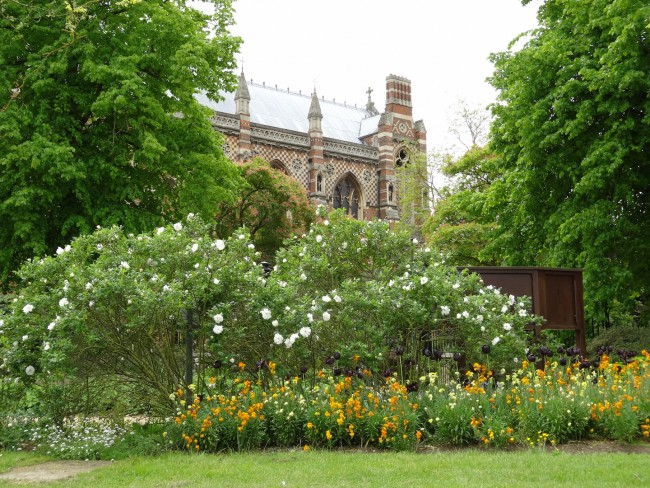 A view of Keble College from the University Parks