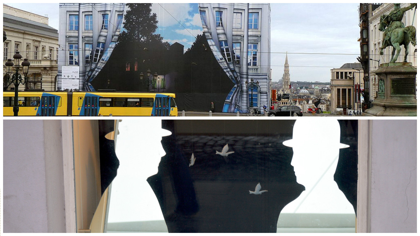 The Magritte Museum in surrealist hoardings | © Warburg/WikiCommons; Magritte silhouettes in the museum shop window | © Bill Smith/Flickr