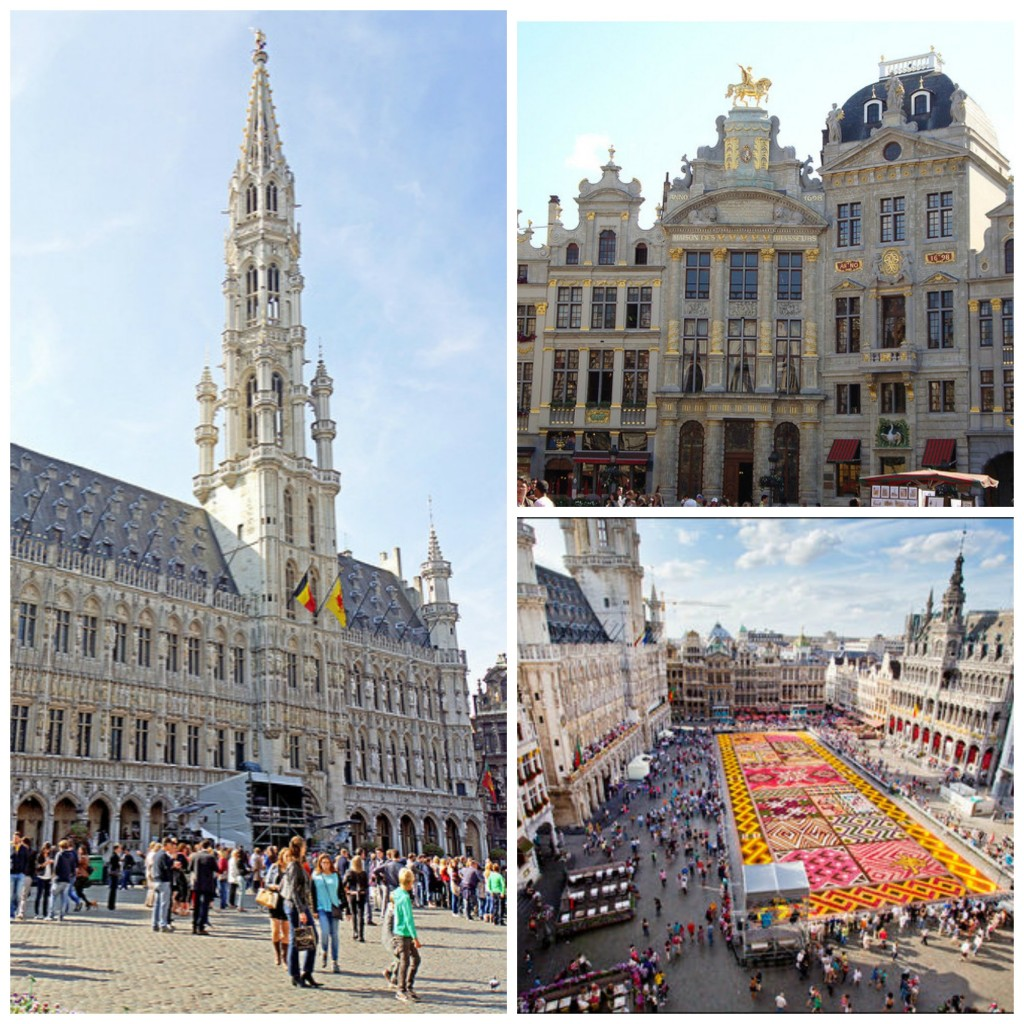 Brussels City Hall   © Dennis Jarvis/Flickr; Some of the square's stately guildhalls   © Sylvain Ratton /Flickr; The biennial flower carpet   © Eric Danhier, Courtesy of visitbrussels.be