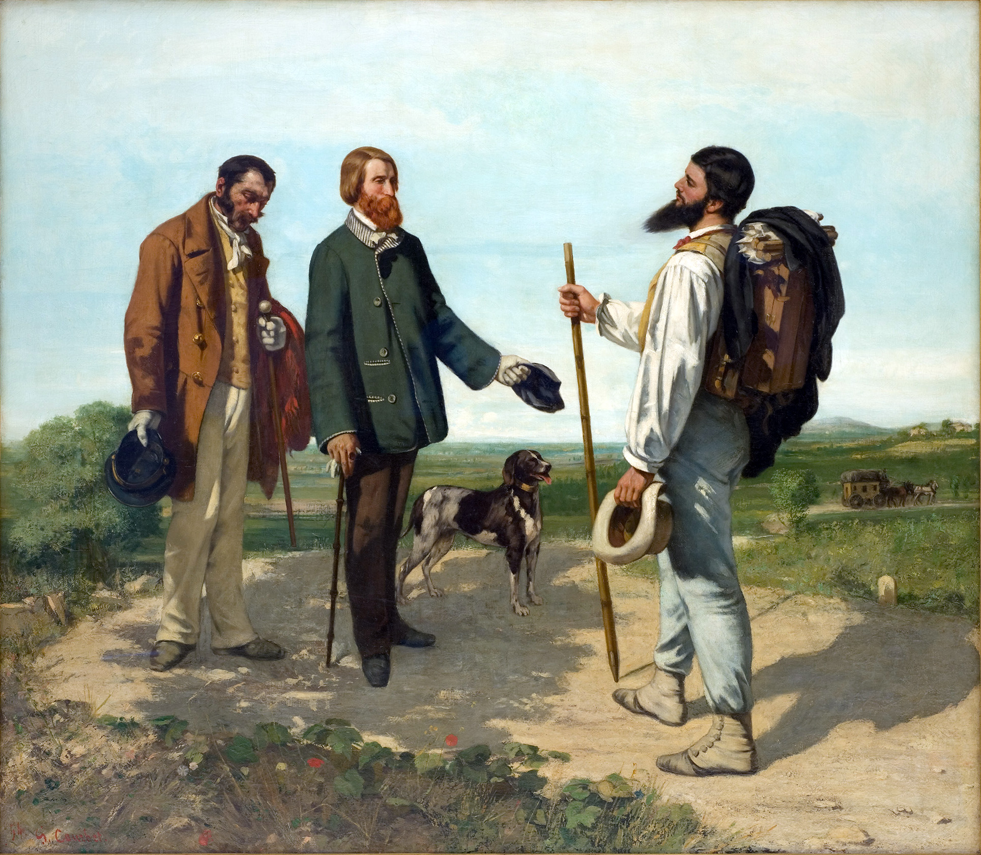 """""""The Meeting"""" or """"Bonjour, Monsieur Courbet"""" by Gustave Courbet 