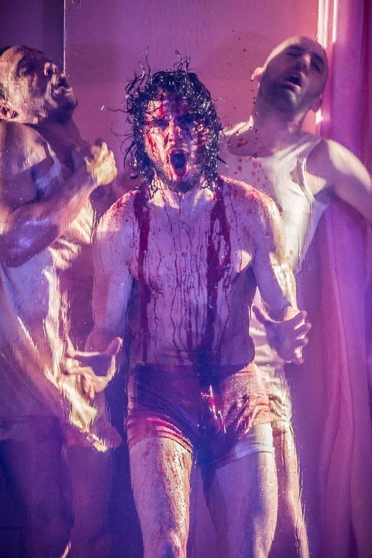 (L-R) Craig Stein, Kit Harington and Tom Edden in Doctor Faustus| ©Marc Brenner/Courtesy of The Jamie Lloyd Company
