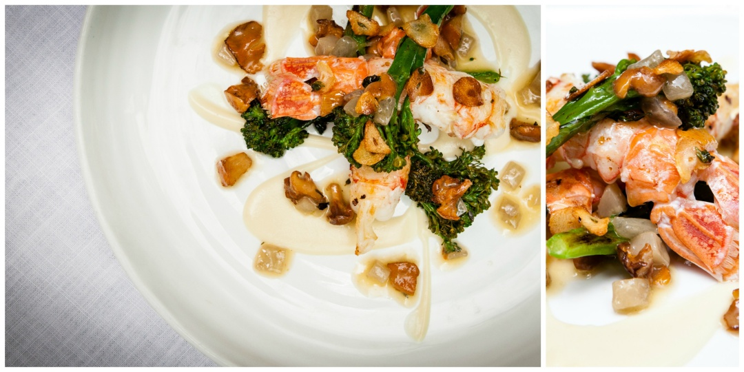Sautéed Langoustines with Broccolini, Girolles and Sweet Garlic Purée | Photo Courtesy of Arcane