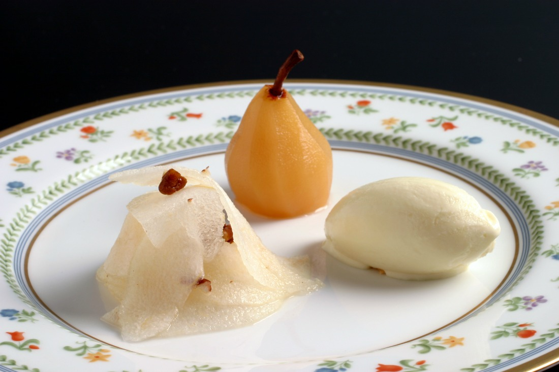 Poached Seckel Pear with Asian Pear Salad and Lemon Verbena Ice Cream | Image Courtesy of ChikaLicious