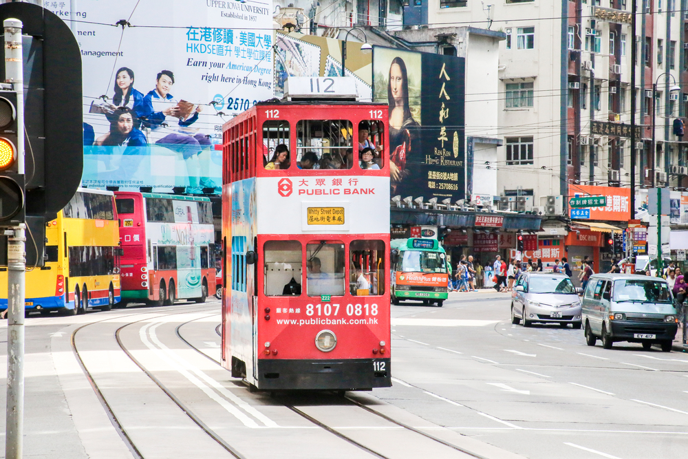 "Hong Kong's trams, known locally as ""ding-ding"" trams, have been rumbling along the northern side of Hong Kong Island since 1904 │© Tobb8/Shutterstock"