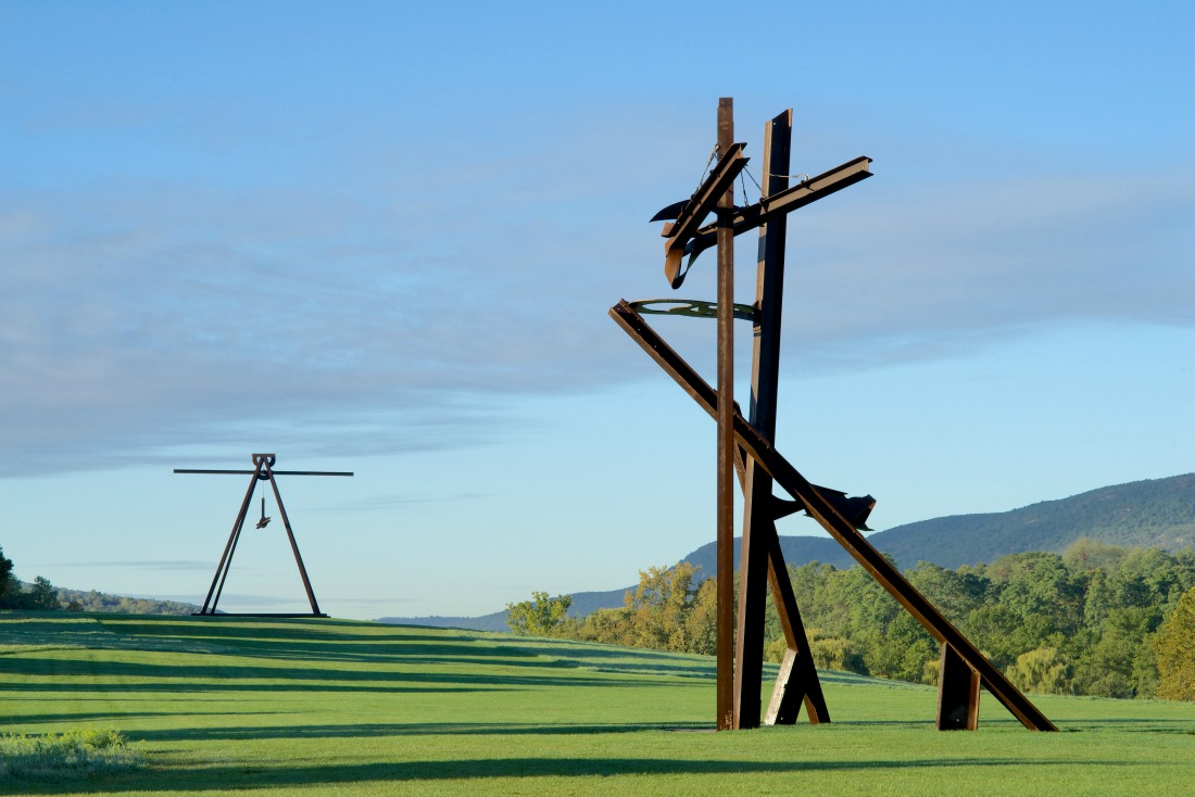 View of the South Fields, all works by Mark di Suvero. Pyramidian, 1987/1998. Gift of the Ralph E. Odgen Foundation. Jeanne, 2014-2015. Courtesy of the artist and Spacetime C.C., New York. Photo by Jerry L. Thompson.