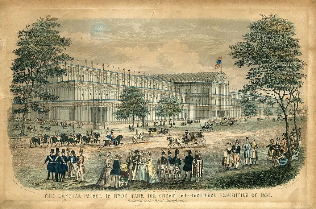 View from the Knightsbridge Road of The Crystal Palace in Hyde Park for Grand International Exhibition of 1851. Dedicated to the Royal Commissioners., London: Read & Co. Engravers & Printers, 1851  WikiCommons