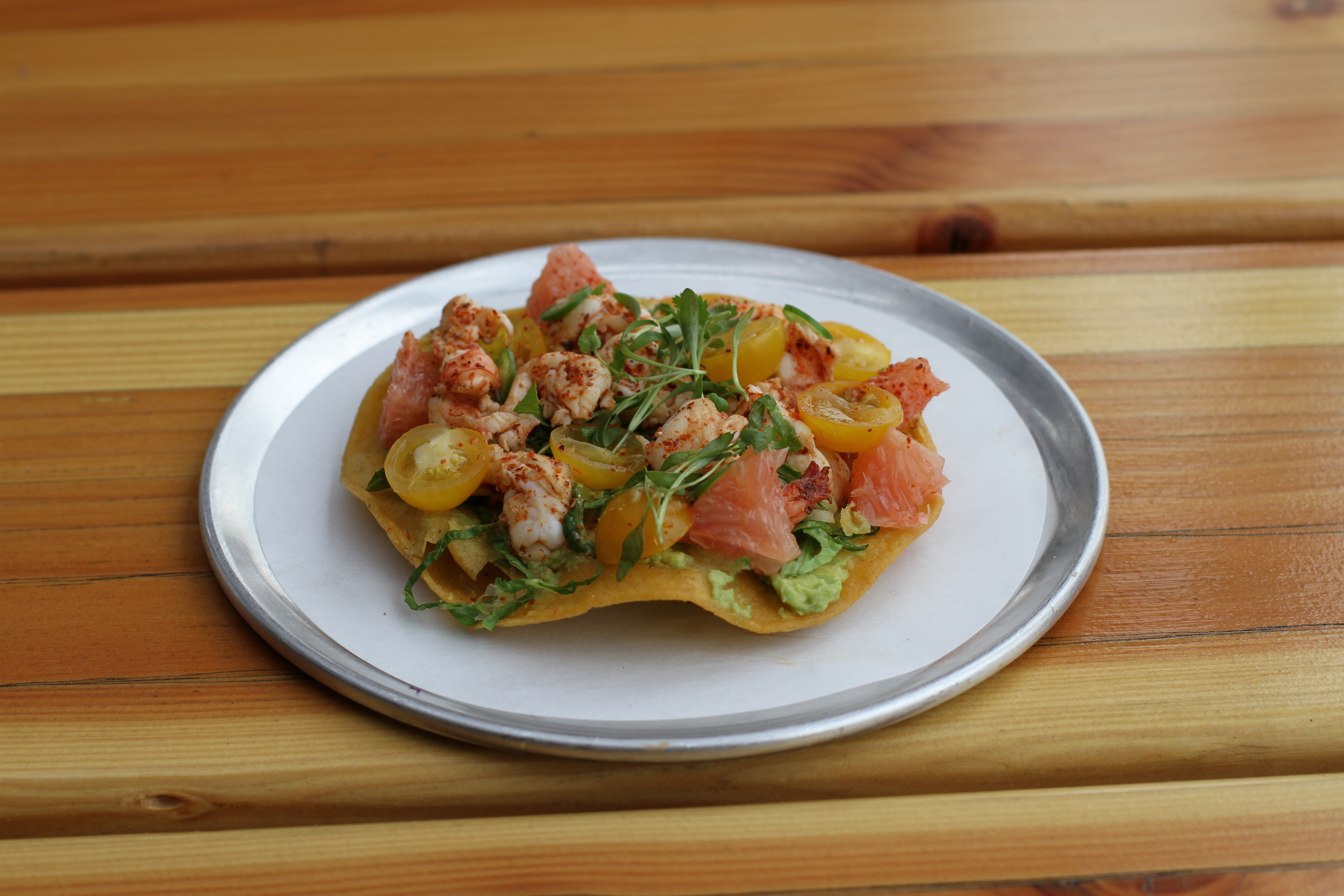 Grilled Mexican White Shrimp Tostada |© Jim Busfield