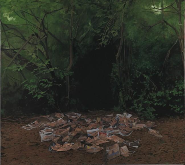 George Shaw, Möcht' ich zurücke wieder wanken, 2015-2016 (Enamel on canvas 178.5 x 198 cm) | Courtesy of the Artist and Wilkinson Gallery, London