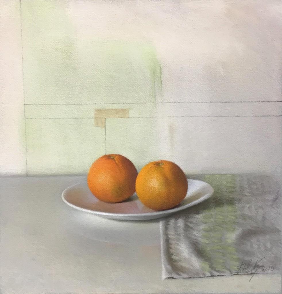 Oranges, 2015, Pastel on processed paper, 44 x 42 cm © David Nipo.