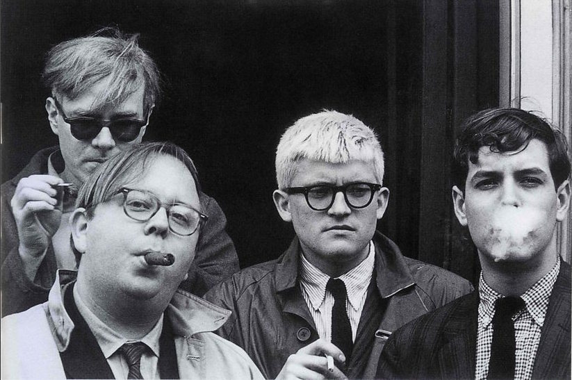 Andy Warhol, Henry Geldzahler, David Hockney and Jeff Goodman, by Dennis Hopper, 1963 courtesy of The Royal Academy