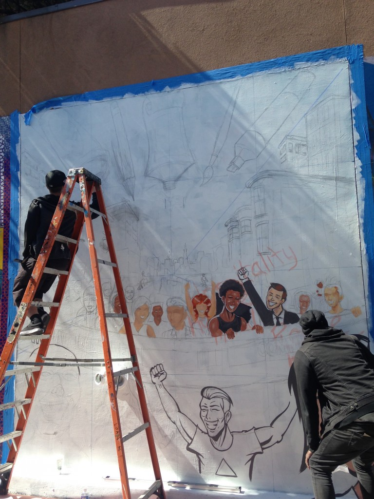 Robert Chambers works on a new mural for Clarion Alley © Danielle Chemtob