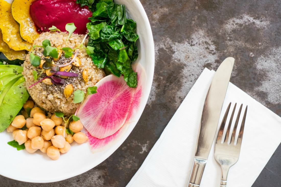 Quinoa Bowl with Beet Tahini | Courtesy of Epistrophy