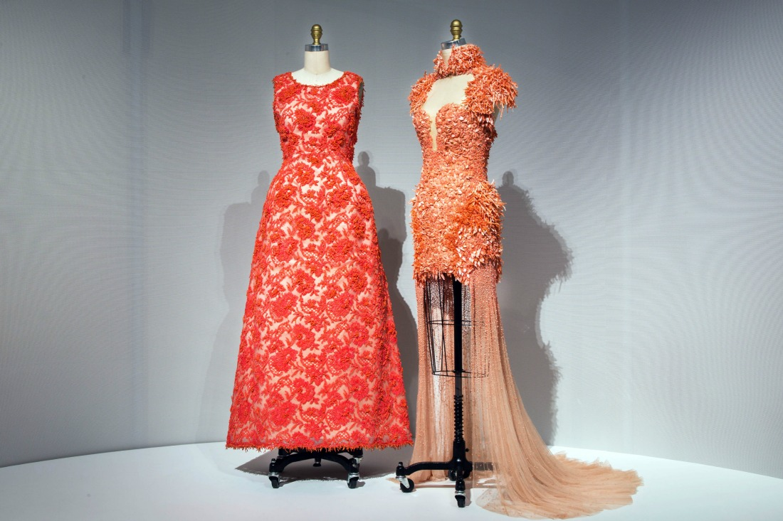 Hubert de Givenchy haute couture hand-sewn and embroidered lace gown, left; and a Sarah Burton for Alexander McQueen ready-to-wear gown both hand-sewn and machine | © Metropolitan Museum of Art