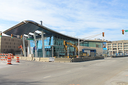 The new Julia M. Carson Transit Center under construction | Courtesy of Carley Lanich