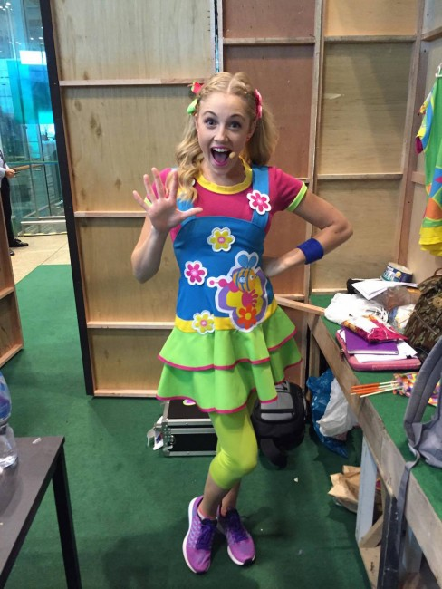 Jessica Redmayne performing for the first time as a Hi-5 member in Singapore. Image courtesy of Jessica Redmayne.