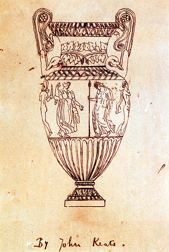 A Drawing keats rendered of an engraving of the Sosibios Vase