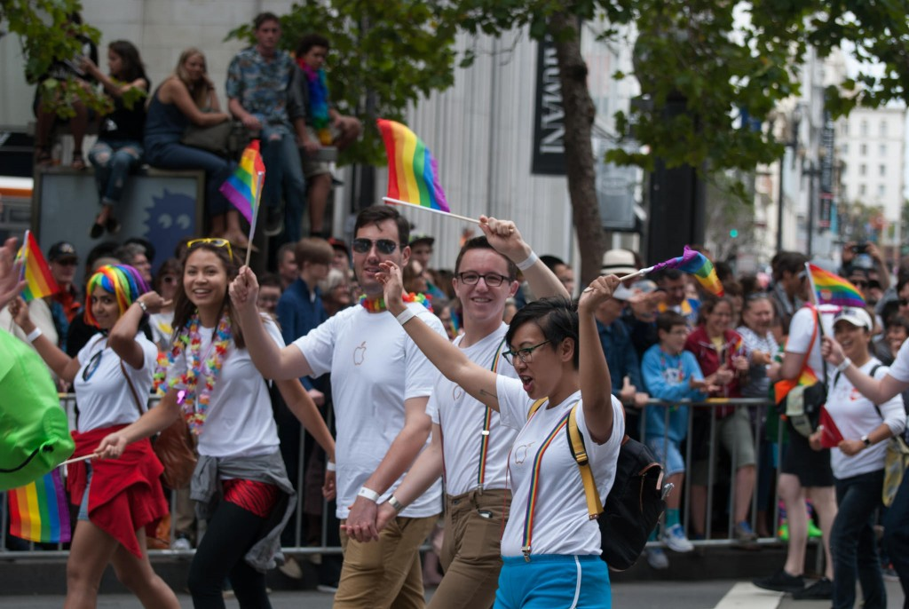 Apple employees march in the 2015 Pride Parade. Ed Bierman/Flickr