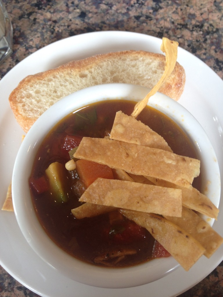 Homemade tortilla soup with fresh avocado © Danielle Chemtob
