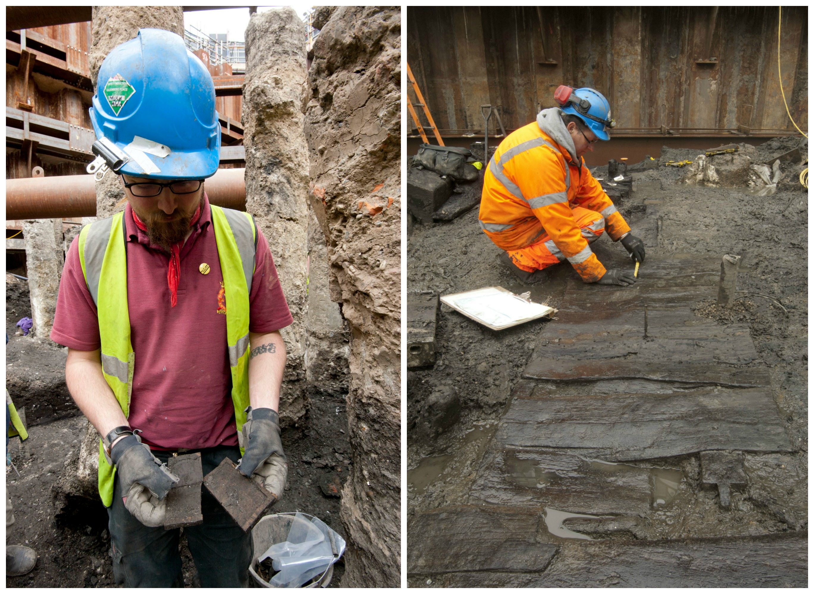 Archaeologist with a tablet just discovered on site // Exceptional preservation of wood in muddy ground at Bloombery | Courtesy of MOLA
