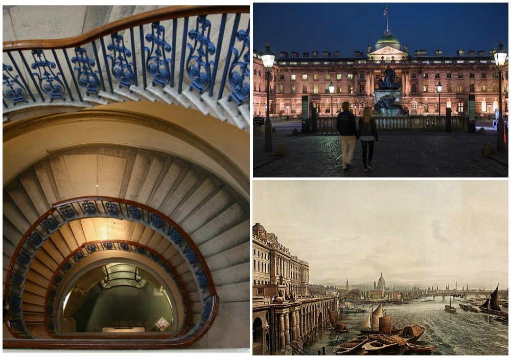 Somerset House Staircase | © alexandria / pixabay // Somerset House by night © James Petts / WikiCommons // Somerset House © Thomas Hosmer Shepherd / WikiCommons