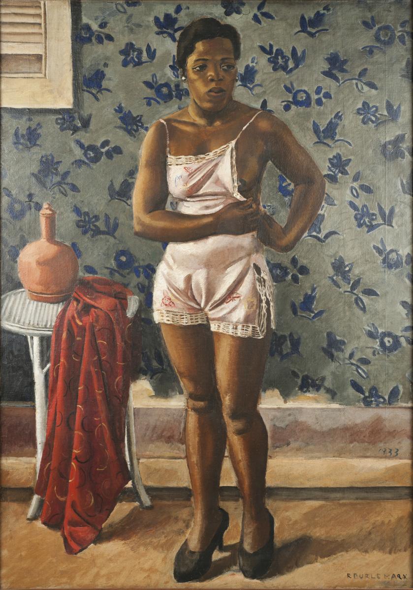 Roberto Burle Marx, Woman in a Pink Slip, 1933, oil on canvas, 39 ¾ x 28 in. (101 x 71.1 cm). Sítio Roberto Burle Marx, Rio de Janeiro. Image provided by Sítio Roberto Burle Marx, Rio de Janeiro.