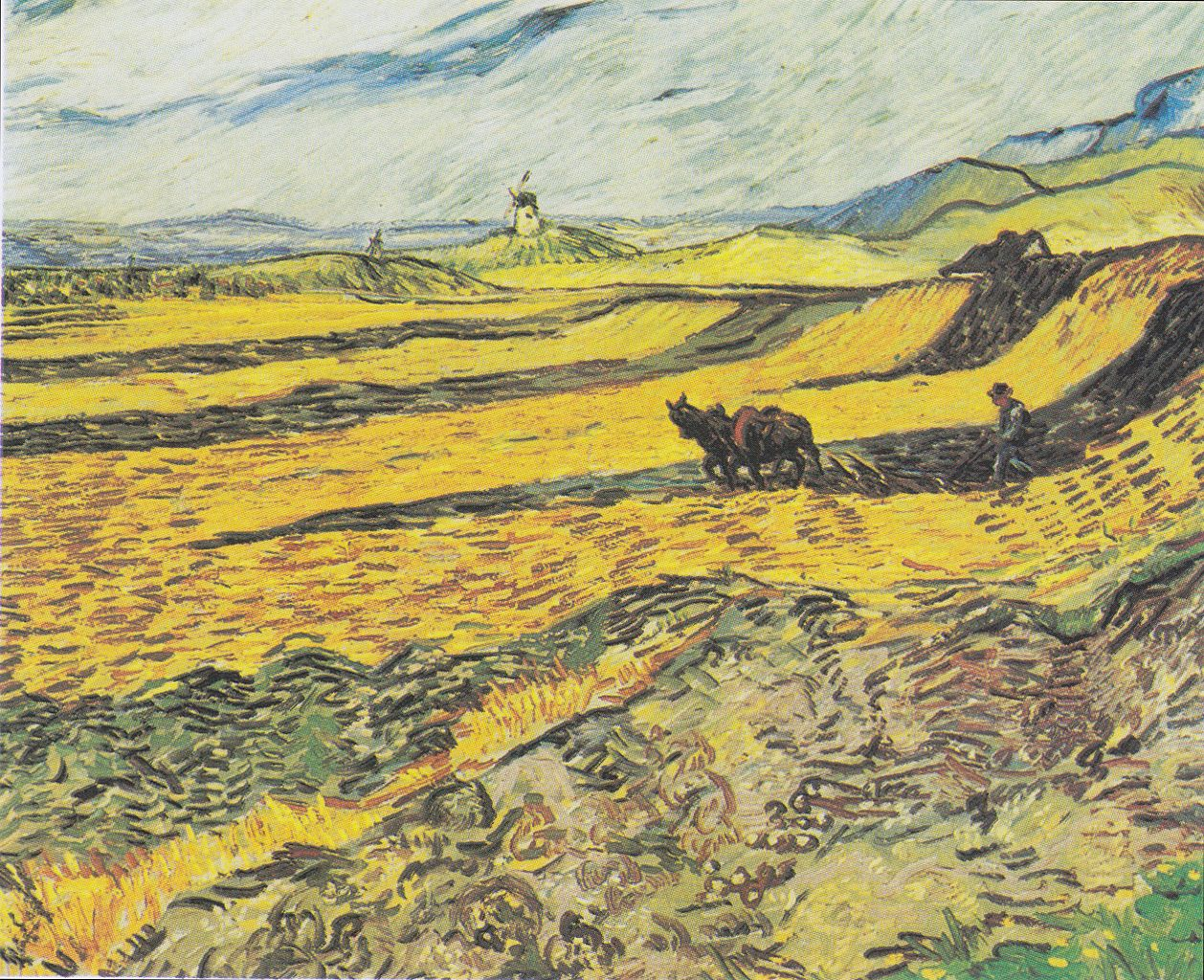 Vincent Van Gogh, Field with plowing farmer and mill, 1889 | © Museum of Fine Arts, Boston/WikiCommons