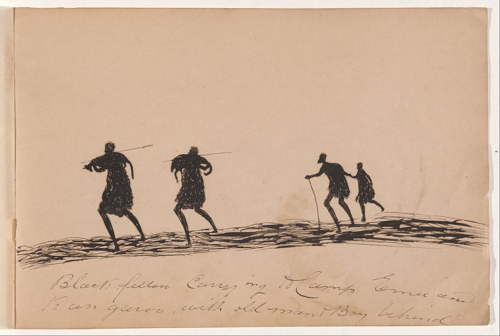 'Black fellow carrying to camp emu and kangaroo with old man and boy behind-Sketchbook of Aboriginal activities' by Tommy McRAE - Kwatkwat people (c.1842 - 1901) | © DcoetzeeBot / WikiCommons